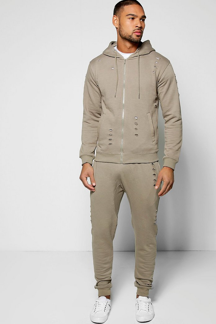 Skinny Ripped Hooded Tracksuit