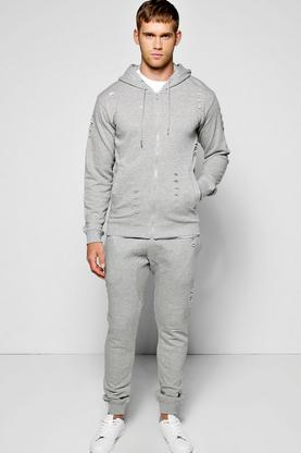 Skinny Fit Ripped Hooded Tracksuit