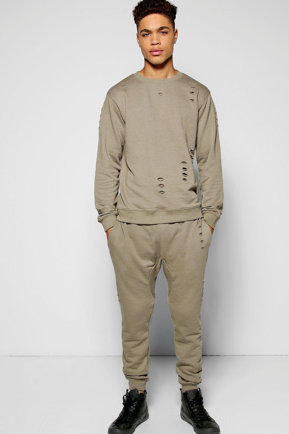 Skinny Fit Ripped Sweat Tracksuit