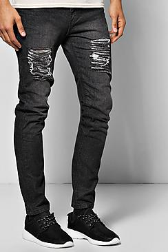 Slim Fit Rigid Jeans With Extreme Knee Rips