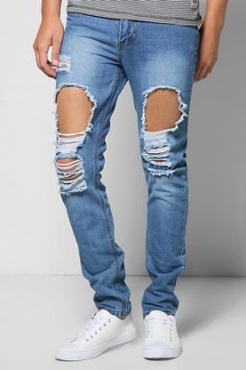 Slim Fit Vintage Wash Ripped Jeans