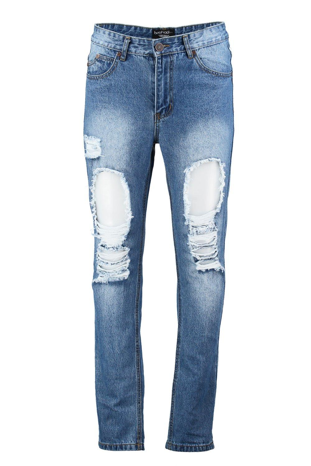 Slim Fit Vintage Wash Ripped Jeans at boohoo.com