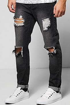 Quincy Skinny Fit Rigid Jeans with Open Rips