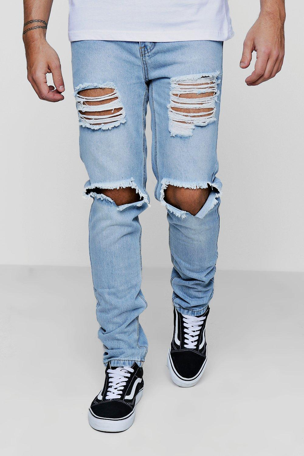 Skinny Fit Vintage Wash Rigid Jeans with Open Rips