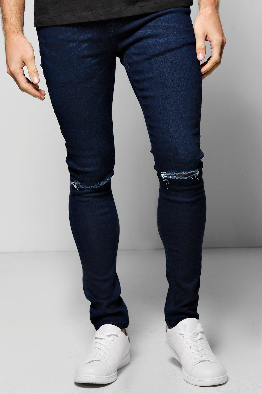 Super Skinny Stretch Jeans with Ripped Knees
