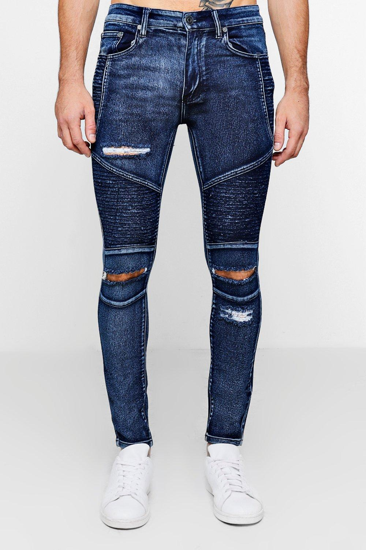boohoo mens skinny ripped biker jeans ebay. Black Bedroom Furniture Sets. Home Design Ideas