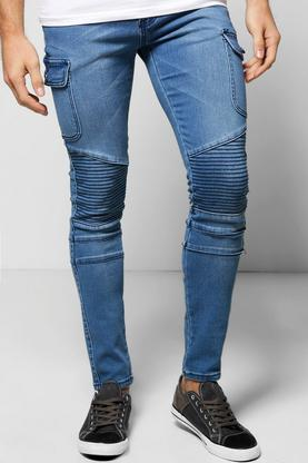 Stretch Skinny Biker Jeans with Cargo Detailing