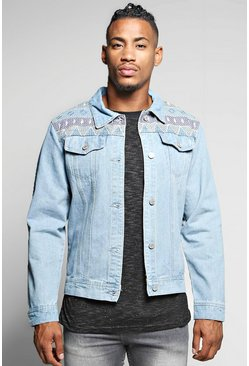 Aztec Embroidered Denim Festival Jacket
