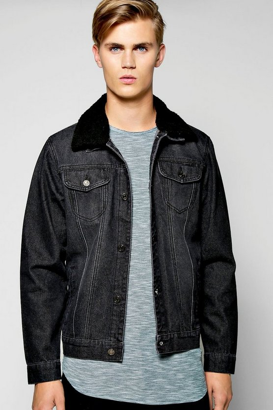 Borg Collar Washed Black  Denim Jacket
