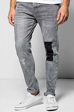 Skinny Fit Patch Ripped Jean