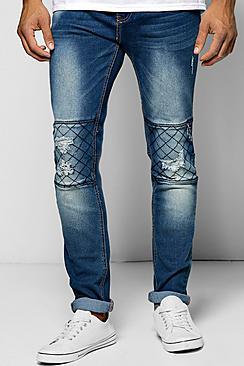 Skinny Fit Ripped Jean With Quilted Biker Stitching