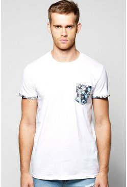 Floral Pocket Print T Shirt