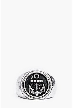 Brushed Silver Anchor Signet Ring