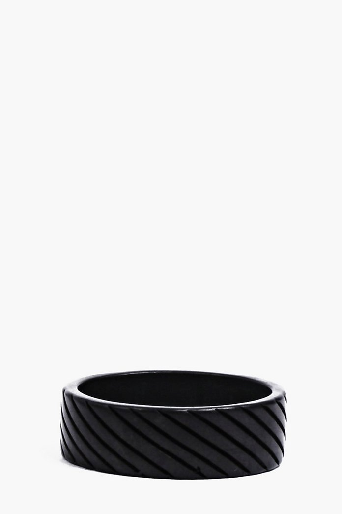 Plain Black Ring with Etching