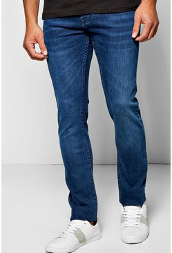 Slim Fit Mid Blue Jeans with Sandblasting