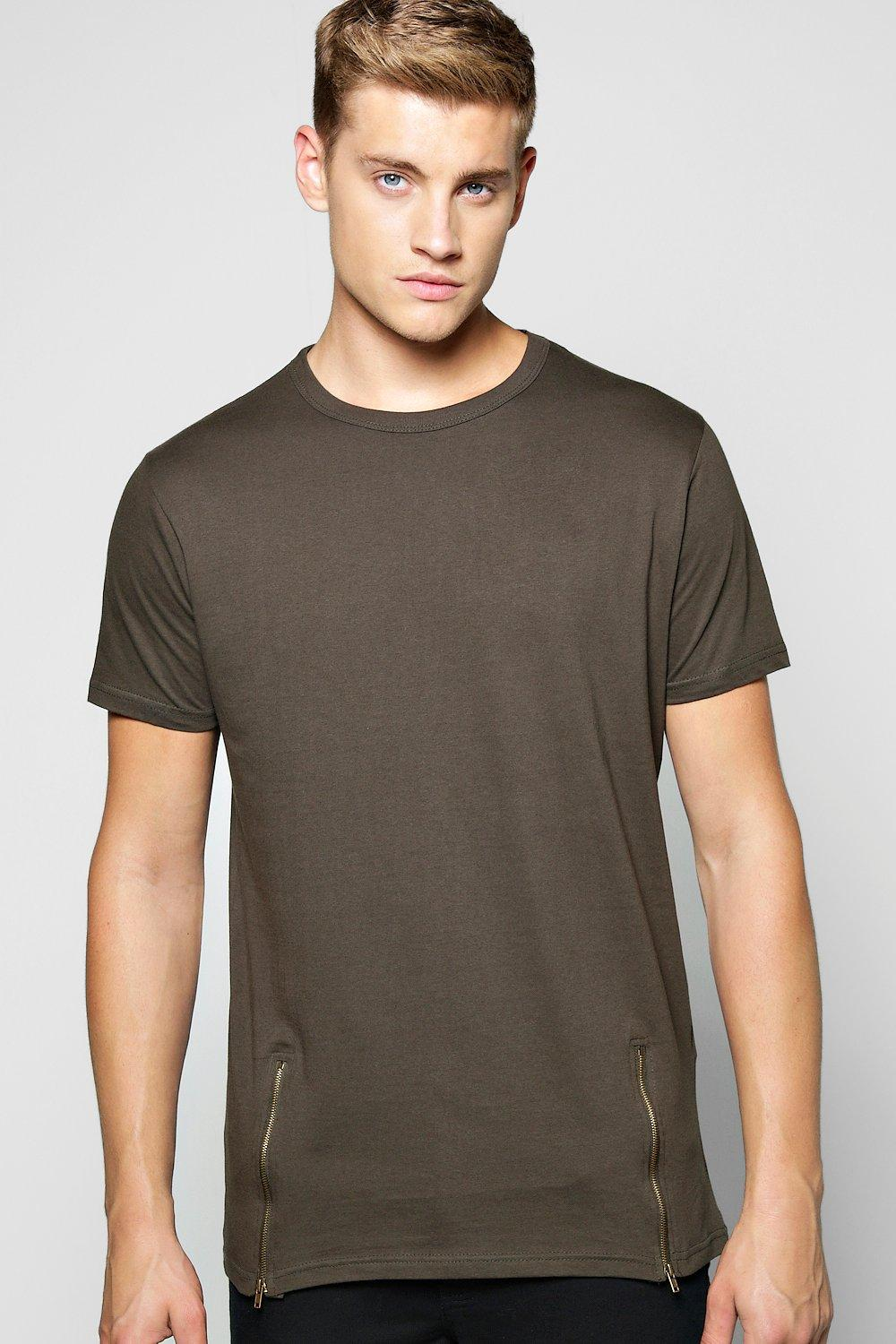 Longline Zip Detail T Shirt