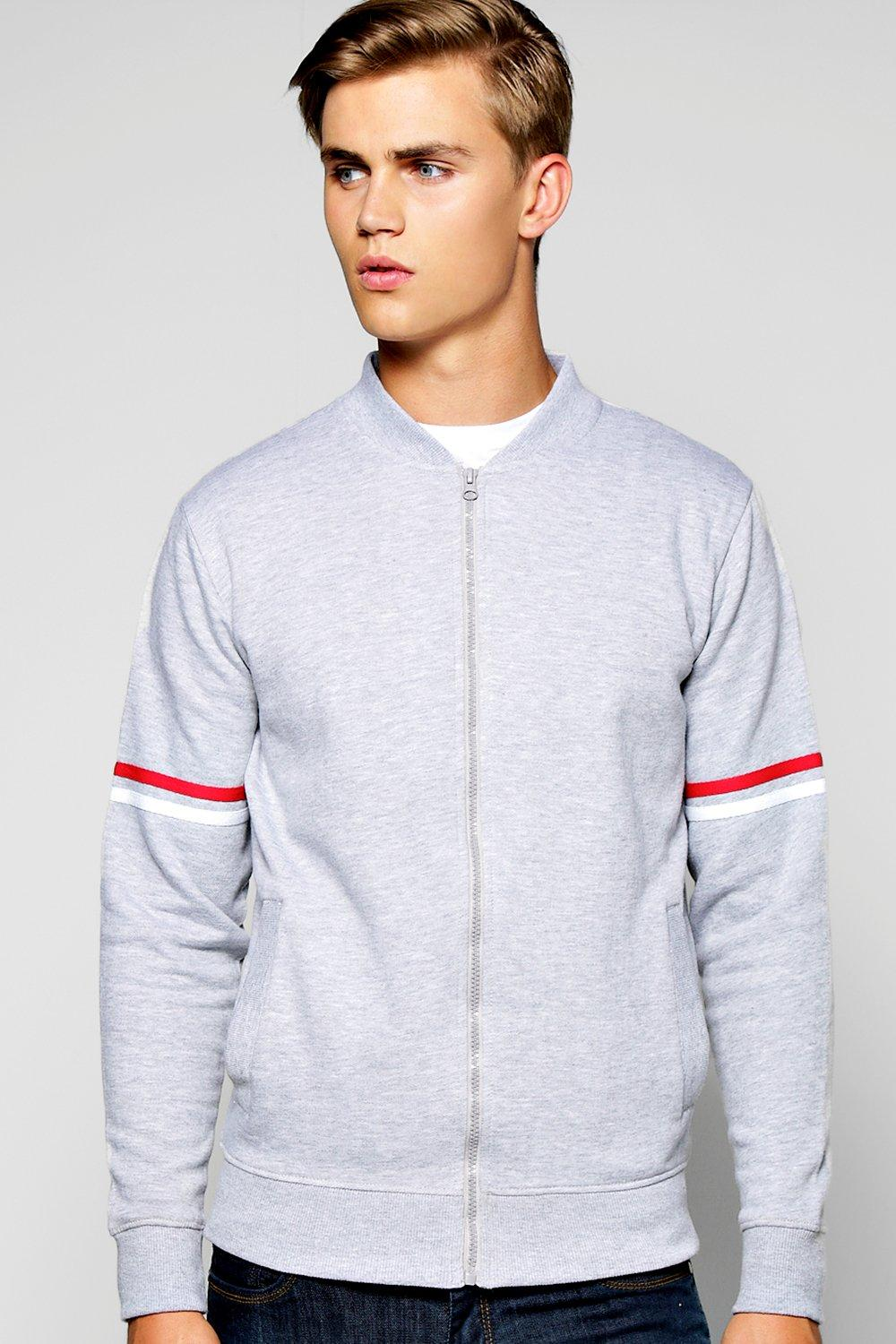 Jersey Bomber With Stripe Sleeves