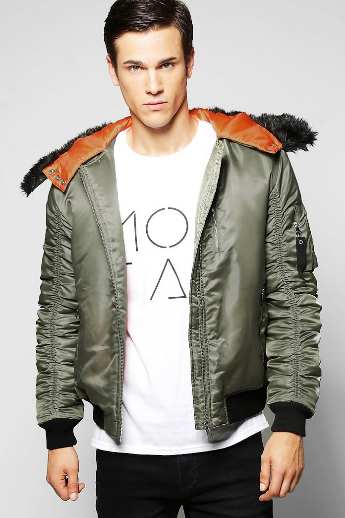 Nylon Hooded Bomber Jacket