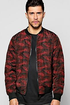 Red Camo Nylon Bomber