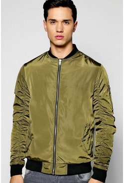 Zip Through Bomber Jacket with Ruched Sleeves