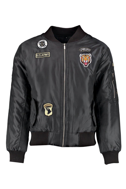 Boohoo Mens MA1 Bomber Jacket With Badges | EBay
