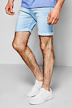 Skinny Fit Bleach Wash Denim Shorts in Mid Length