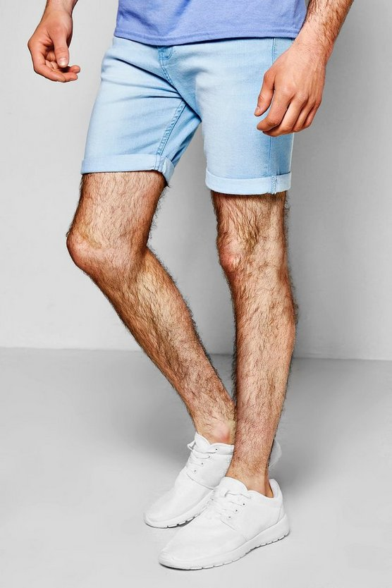 Skinny Fit Bleach Wash Denim Shorts