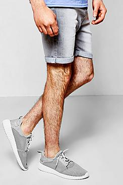 Skinny Fit Light Grey Denim Shorts in Mid Length