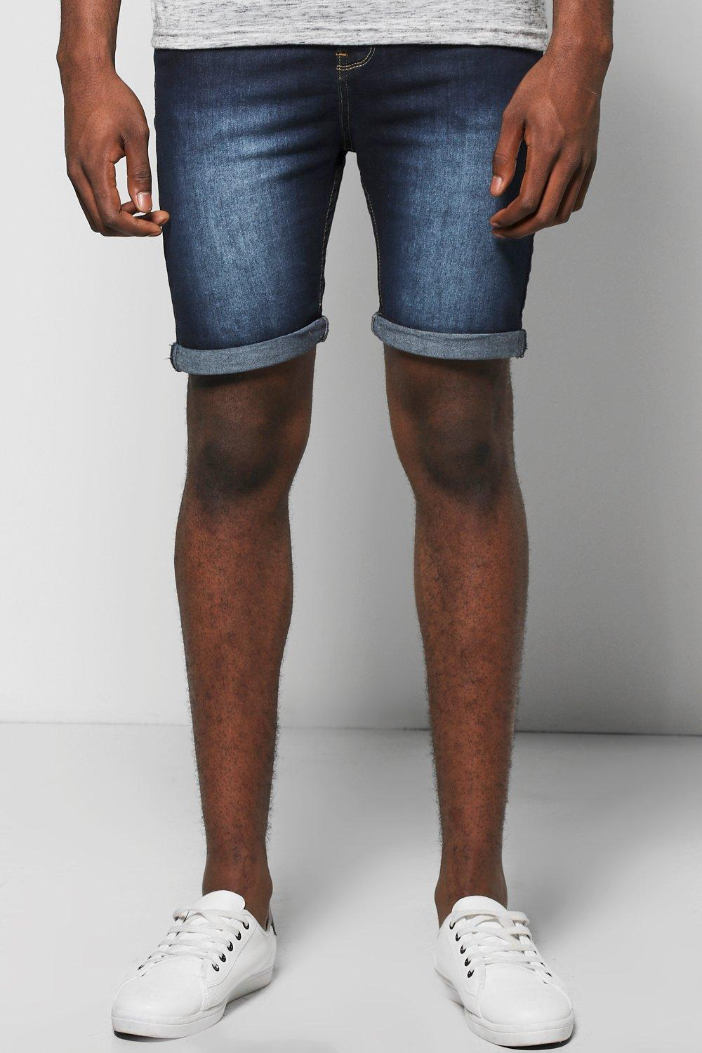 Skinny Fit Indigo Wash Denim Shorts in Long Length
