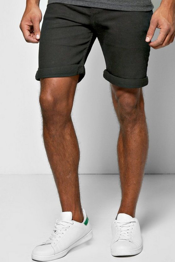 Skinny Fit Black Denim Shorts in Long Length