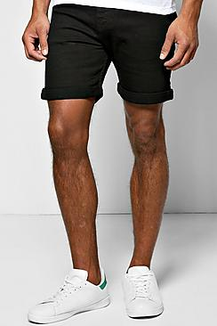 Skinny Fit Black Denim Shorts in Mid Length