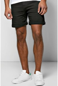 Skinny Fit Black Denim Shorts in Short Length