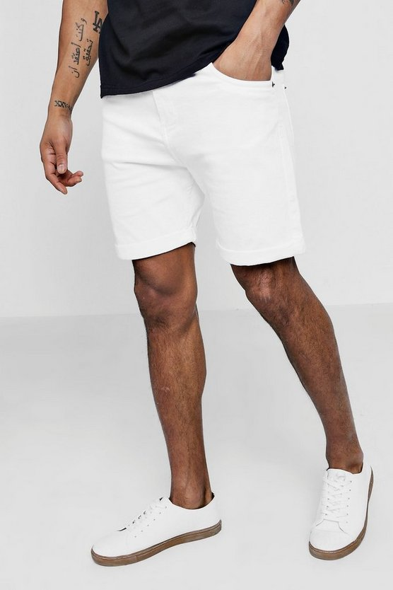 Skinny Fit White Denim Shorts in Long Length