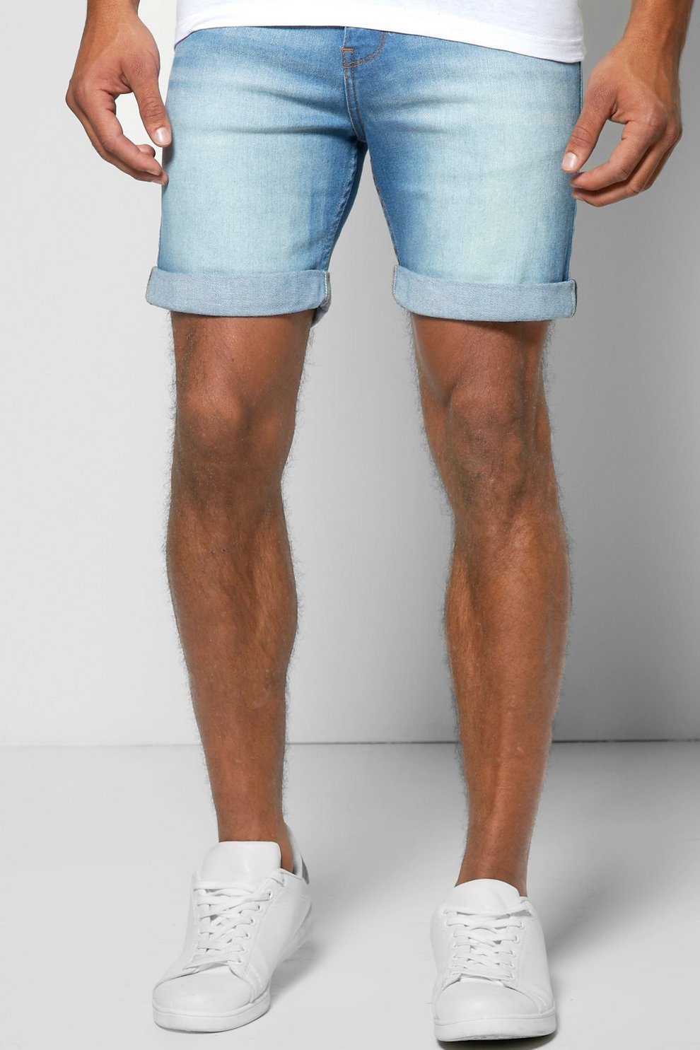 Skinny Fit Mid Wash Denim Shorts in Mid Length