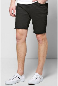Skinny Stretch Denim Shorts With Raw Edge