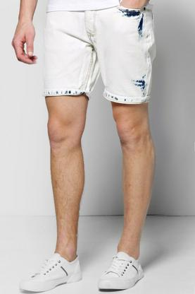 Slim Fit Stretch Bleach Shorts