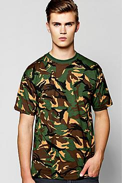 Loose Fit Camo Print T-Shirt