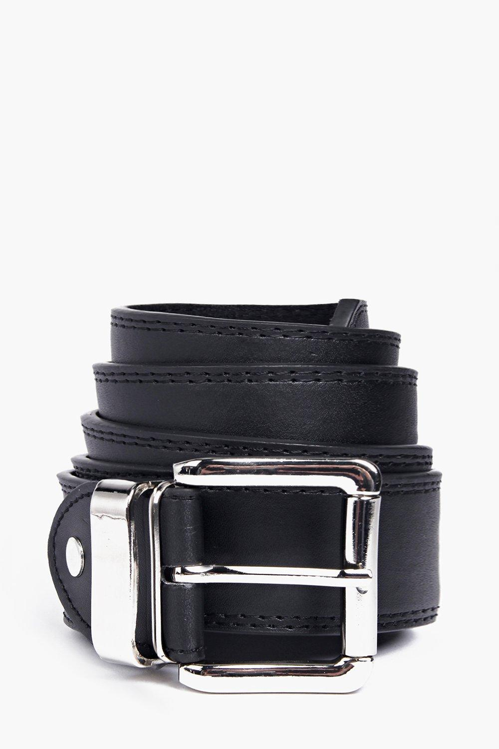 Stitched Leather Lined Belt - black - Bring your a