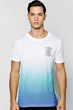 Sublimation Print Faded T Shirt
