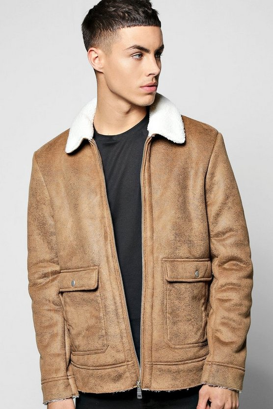 Borg Collar Faux Suede Jacket