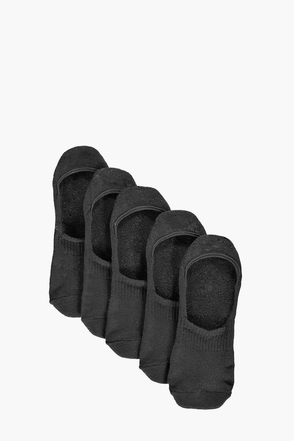 5 Pack Plain Invisible Socks With Grips