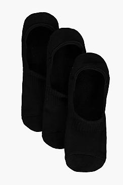 3 Pack Plain Invisible Socks With Grips