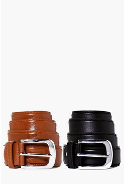 2 Pack Leather Look Belt Multipack