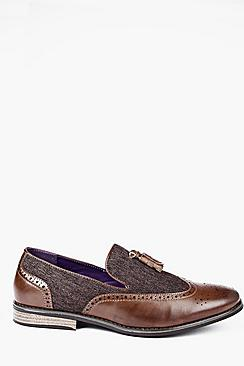 Contrast Panel Tassle Loafers