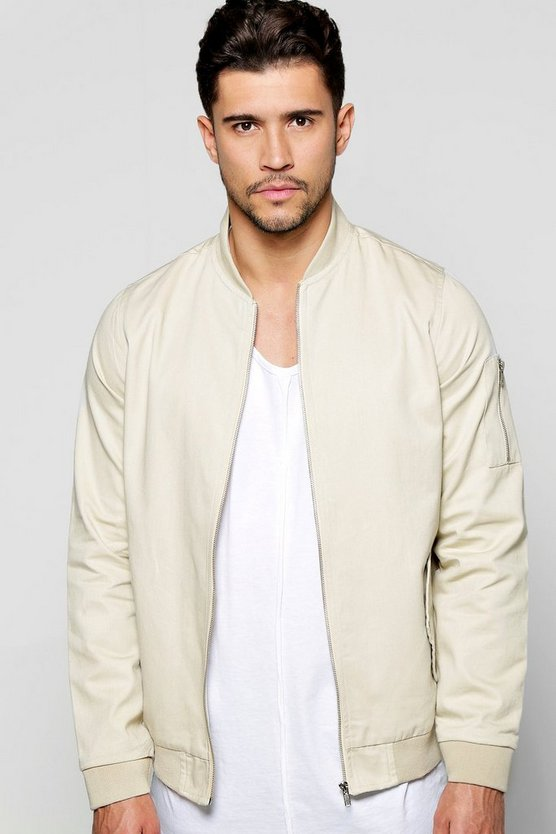 Cotton MA1 Bomber Jacket in Stone