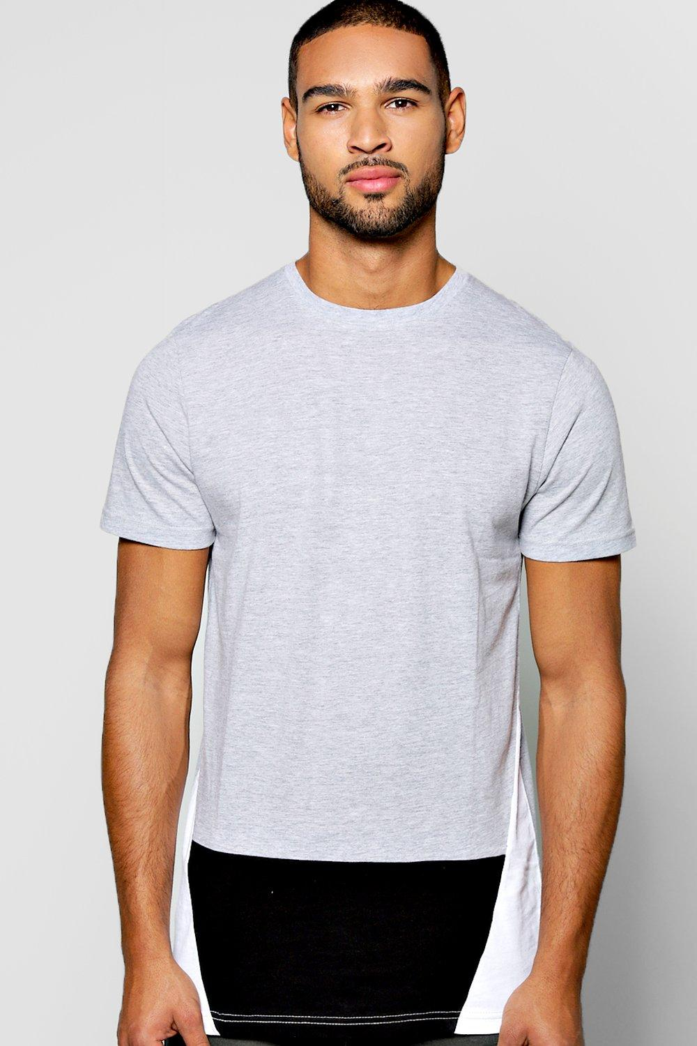 Curved Front Colour Block T Shirt
