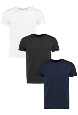 3 Pack Slim Fit T Shirts