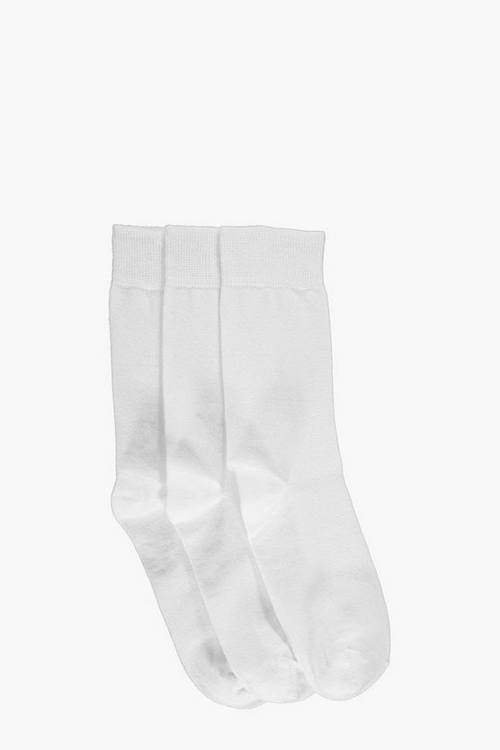 3 Pack Plain White Cotton Socks