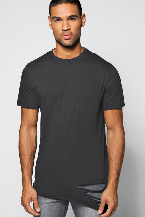 Longline Asymmetric Ripped T-Shirt