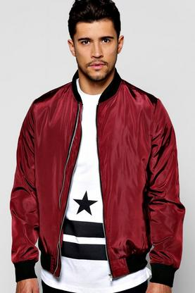 Double Zip Nylon Bomber Jacket